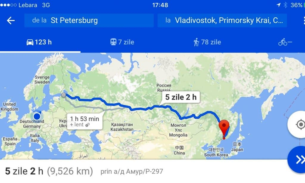Map Saint Petersburg - Vladivostok