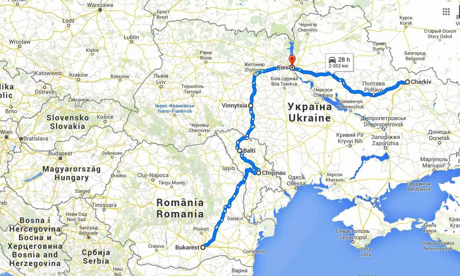 Map Trip Ukraine Moldova Romania