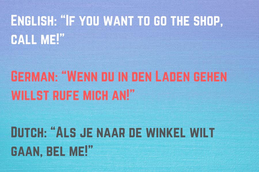 Dutch vs German Example Sentence