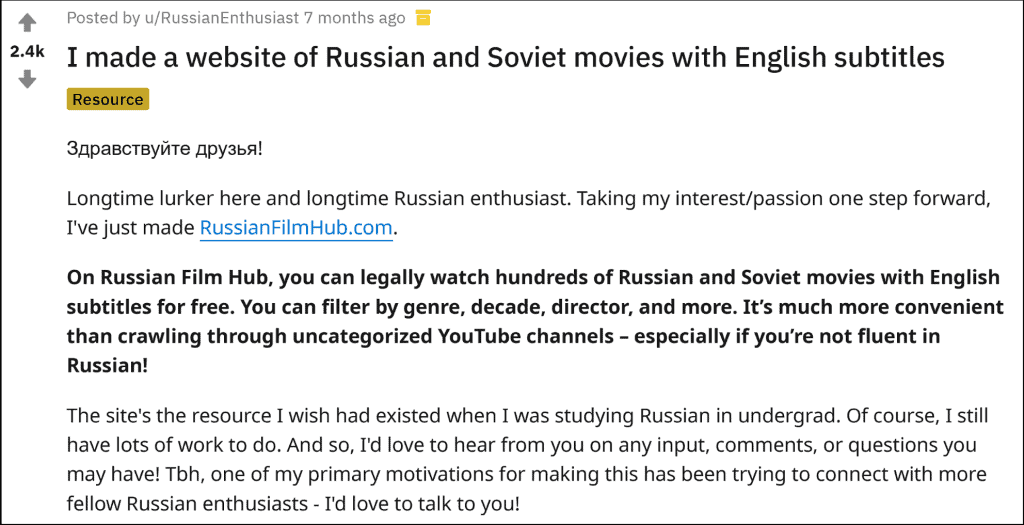Reddit Russian Subtitles