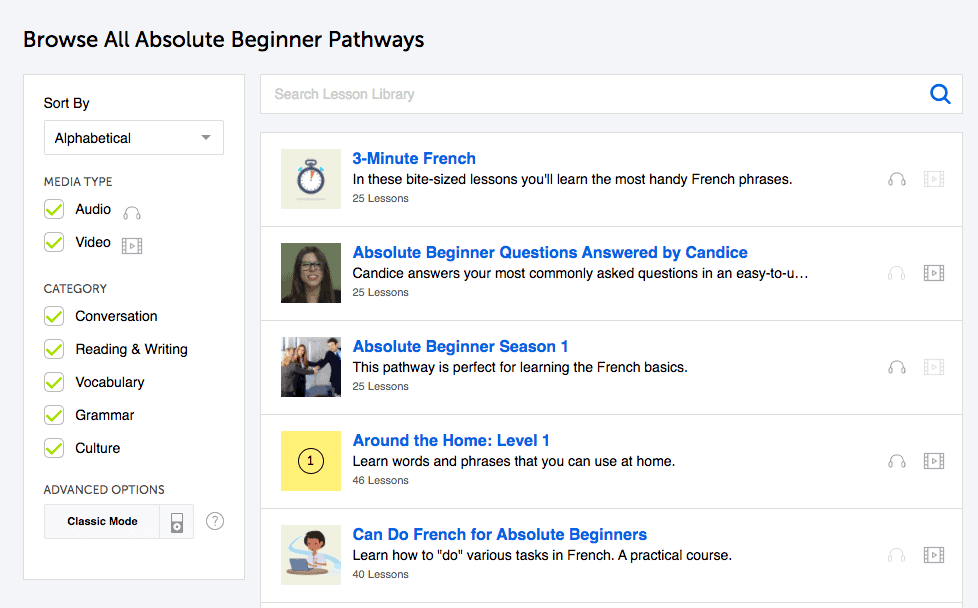 FrenchPod101 Absolute Beginner Pathways