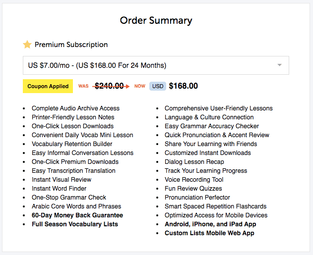 ArabicPod101 Premium Discount $7