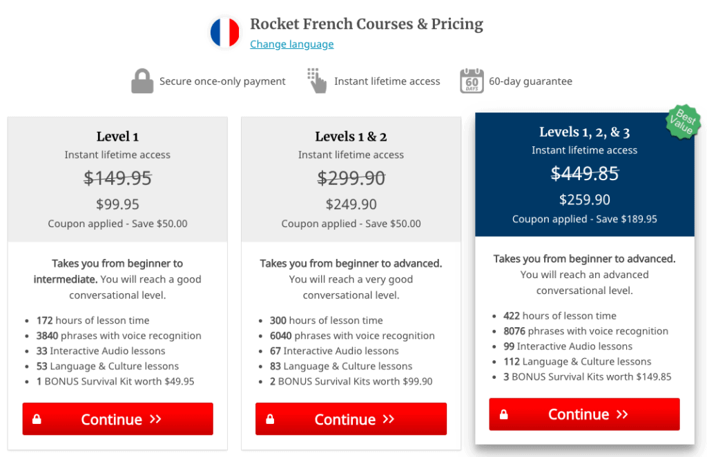 Rocket French Pricing w Coupon