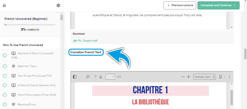 French Uncovered chapter 1 text - Canadian French included