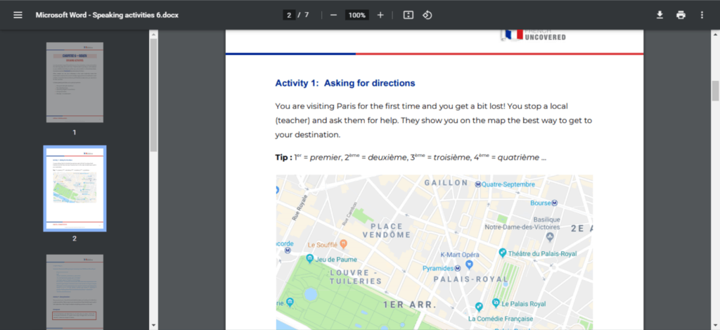 French Uncovered speaking activity - asking for directions in Paris